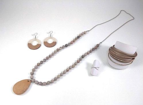 Collier long GB en pierre naturelle et acier inox