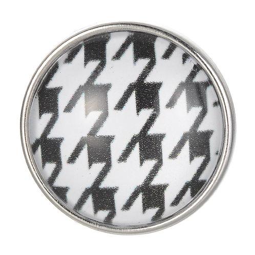Bouton pression (snap) Nomaad Interchangeable, Pied de poule noir et blanc