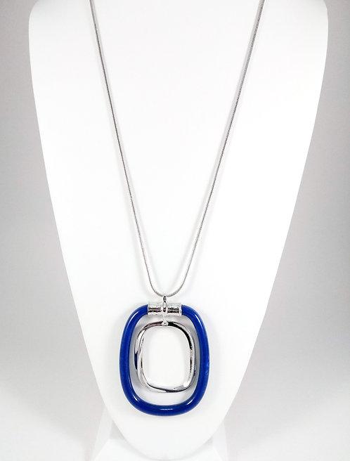 Collier long Spoutnik, Large pendentif bleu royal et argent