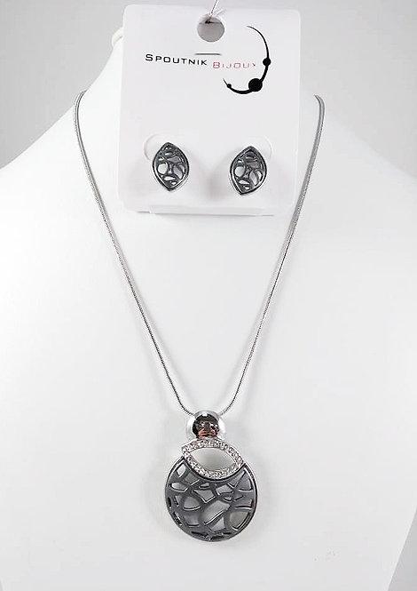 Ensemble collier et boucles d'oreille Spoutnik, Cercle ajouré gris mat, cristaux