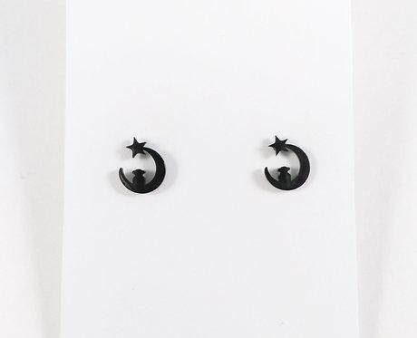 Boucles d'oreille acier inoxydable ''Lune noire''
