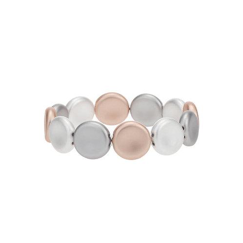 Bracelet élastique Caracol, Pastilles, Argent et Or rose, 3147-MXR
