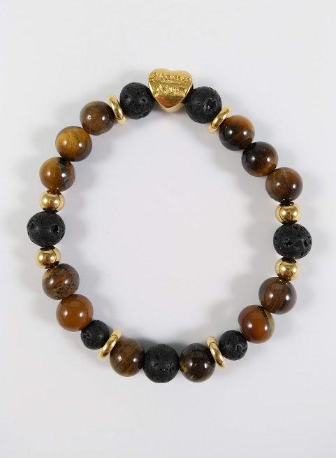 Bracelet #29 Oeil de tigre et pierre volcanique