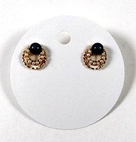 Boucles d'oreille Spounik: cercle or, bleu marin et mini perle blanche