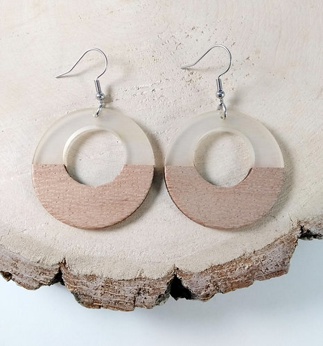 Boucles d'oreille GB Joaillière, Bois et résine, Cercle troué, transparent