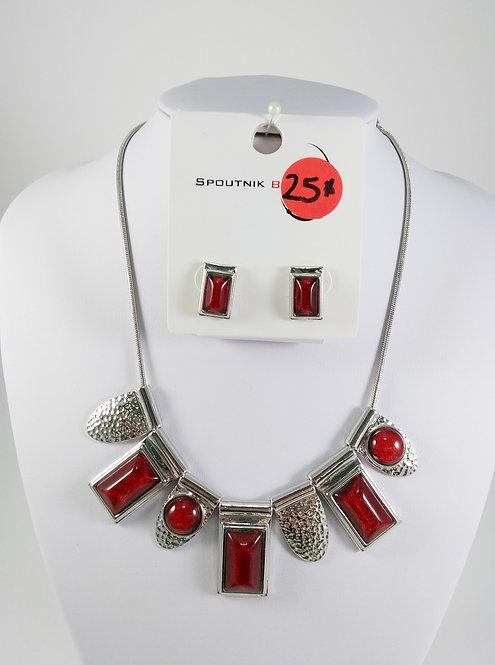 Ensemble collier et boucles d'oreille Spoutnik, Bourgogne-rouge