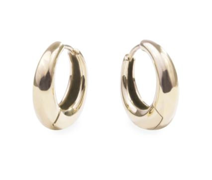 Boucles d'oreilles anneaux gonflées, Acier inoxydable, Or