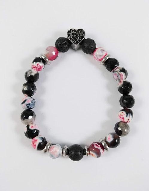 Bracelet#18 Agate de feu et pierre volcanique