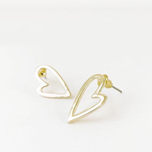 Boucles d'oreille Caracol, Coeur sur tige, Or lustré, 2345-GLD