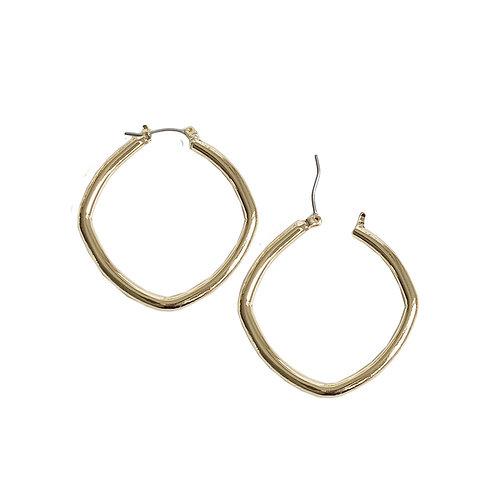 Boucles d'oreille Caracol, Anneau carré, Or lustré, 2373-GLD-S