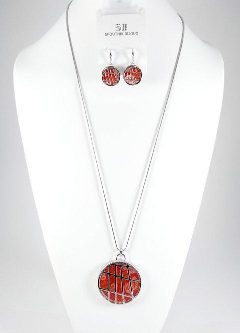 Ensemble collier long et boucle, Cercle quadrillé argent, orangé, motif fleur