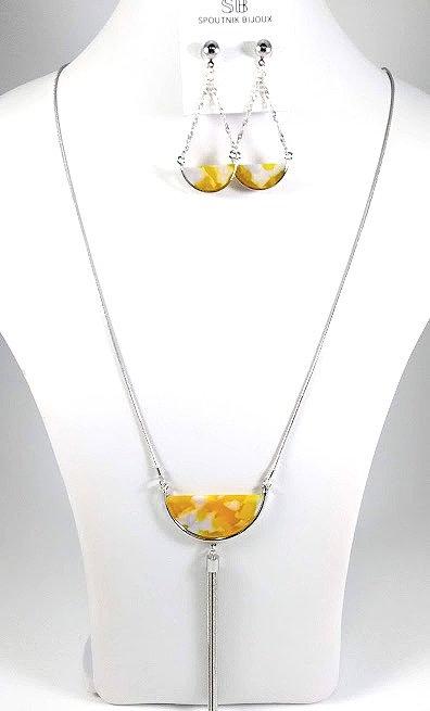Ensemble collier long et boucles d'oreille Spoutnik, Demi-lune jaune