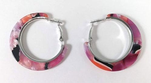 Boucles d'oreille anneau Spoutnik, fuchsia-noir et argent