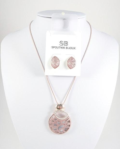 Ensemble collier et boucles d'oreille Spoutnik, Cercle ajouré rose et or rose