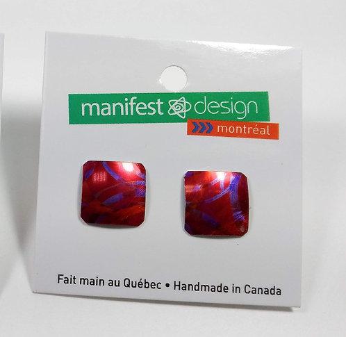 Boucles d'oreille Manifest Design: Fixe carré, rose, rouge et mauve