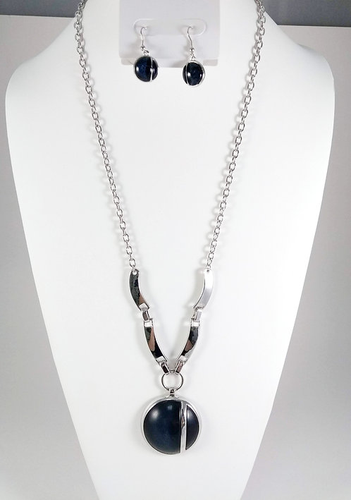 Ensemble collier long et boucles d'oreille Spoutnik, Cercle bleu marin et argent