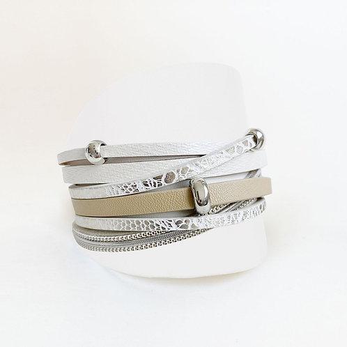 Bracelet Caracol, Cuirette avec métal, Blanc-beige, 3144-BGE