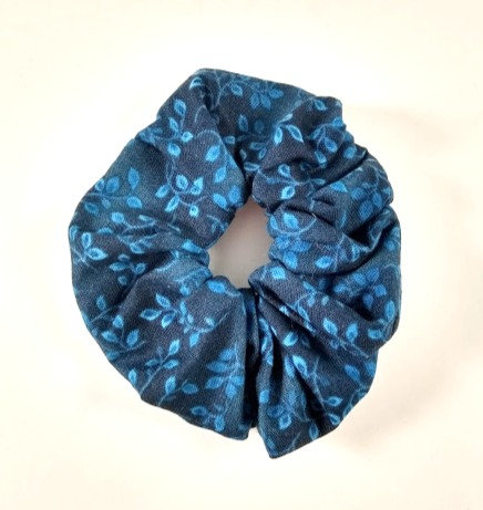Élastique pour cheveux ''Janelle'' Chouchou, Bleu foncé, motif feuille