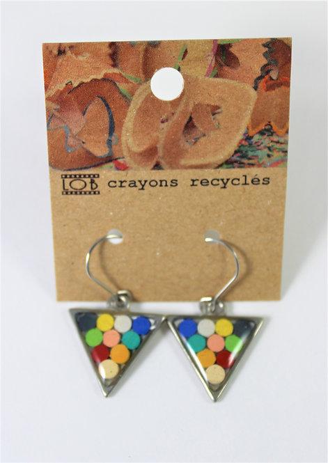 Boucles d'oreille LOB-crayons recyclés (Triangle multicolore #16)