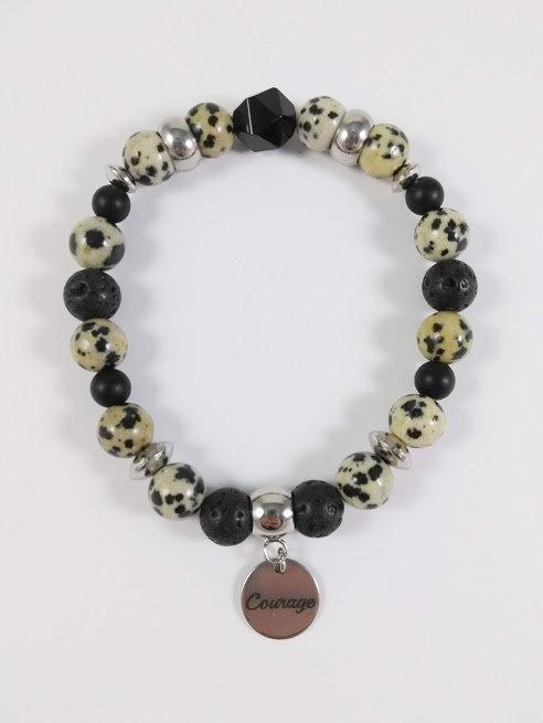 Bracelet #12 Jaspe Dalmatien et pierre volcanique