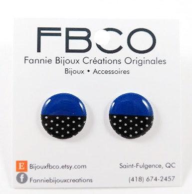 Boucles d'oreille FBCO ''Chikie bleu royal et noir''