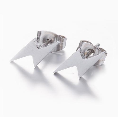 Boucles d'oreille acier inoxydable ''Éclair argent''