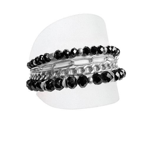 Ensemble de 3 bracelets Caracol, Billes et chaînes, Noir et argent, 3185-BLK-S