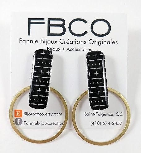 Boucles d'oreille FBCO ''Mila: noir, ligne blanche et or''