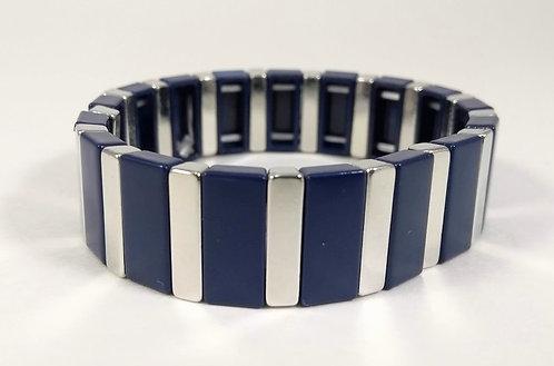 Bracelet élastique Spoutnik, rectangle bleu marin et argent