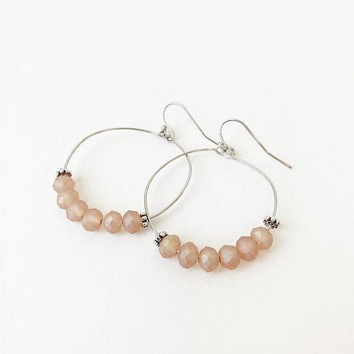 Boucles d'oreille Caracol, Billes facettées, Rose corail et argent, 2378-