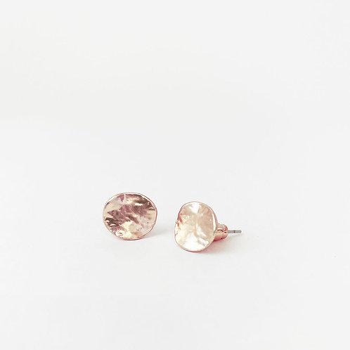 Boucles d'oreille Caracol, Pastilles métalliques texturées, Or rose, 2043-RGD