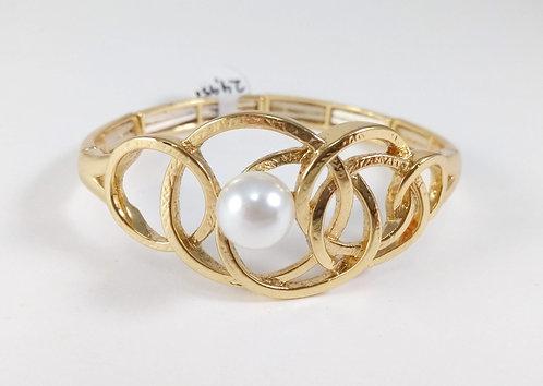 Bracelet Spoutnik élastique, Cercles entrecroisés, Or, perle blanche