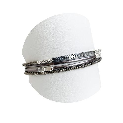Bracelet Caracol, Cuir et billes, Gris, 3159-GRY