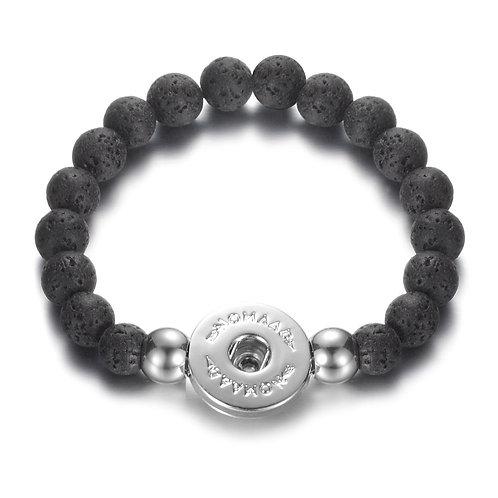 Bracelet élastique pierre volcanique noire, Nomaad Interchangeable