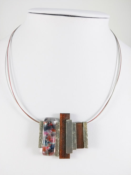 Copie de Collier Créart, Lena, Bois brun, verre rose-mauve