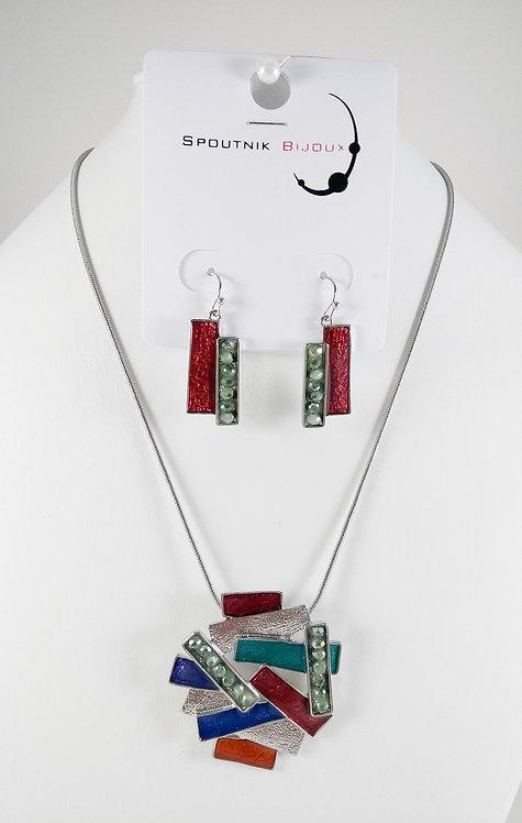 Ensemble collier et boucles d'oreille Spoutnik, Rectangle, multicolore