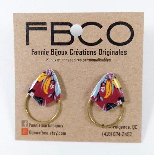 Boucles d'oreille FBCO ''Axies'' Bourgogne, jaune moutarde et bleu poudre