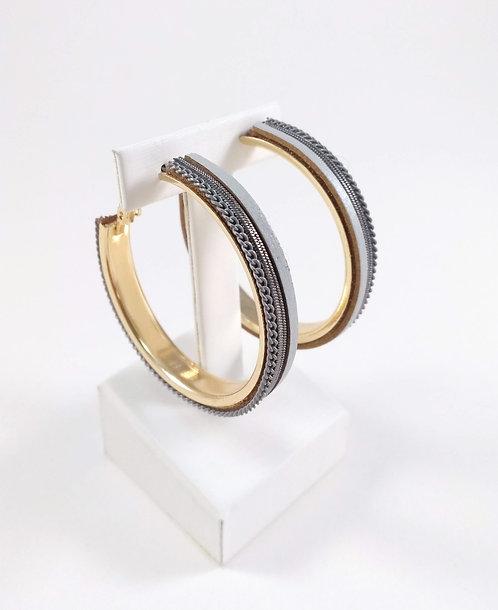 Boucles d'oreille anneau Spoutnik, chaîne et cuir, Or et gris