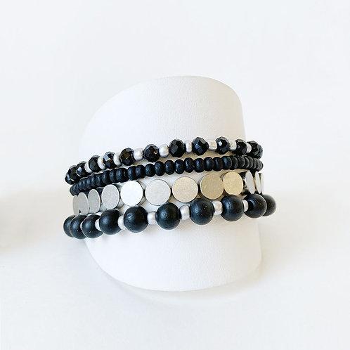 Ensemble de 4 bracelets élastiques Caracol, billes, Noir et argent, 3186-BLK-S