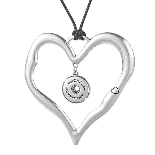 Collier long, Coeur argent, Nomaad Interchangeable