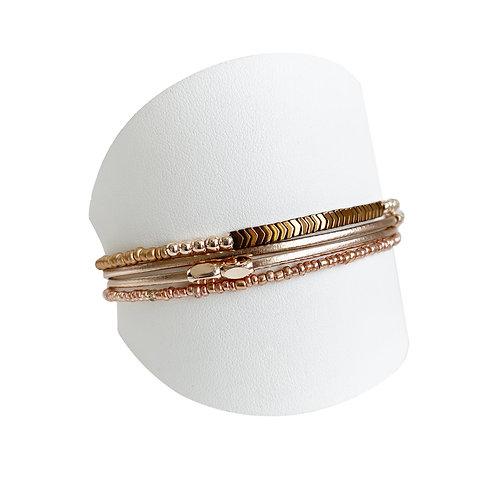 Bracelet Caracol, Cuir et billes, Or rose, 3159-NUD