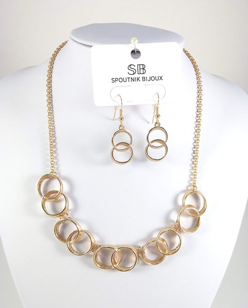 Ensemble collier et boucles d'oreille Spoutnik, Cercles or