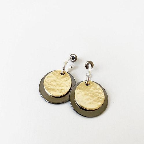 Boucles d'oreille Caracol, Pastille, Hématite et or, 2434-MXH
