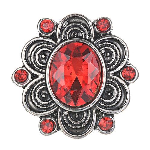 Bouton pression (snap) Nomaad Interchangeable, Ovale cristal rouge fleur argent