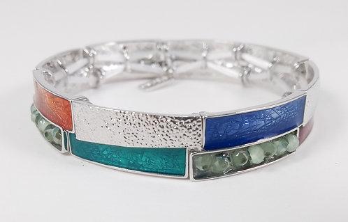 Bracelet Spoutnik élastique, Résine multicolore, billes facetté, argent