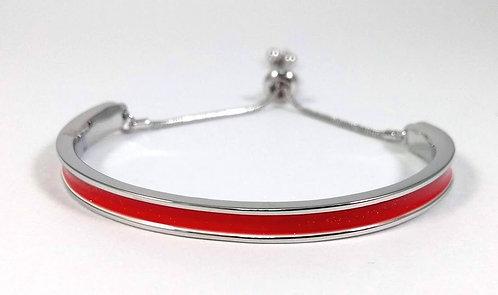 Bracelet Spoutnik ajustable, Demi-cercle rigide rouge et argent, ajustable