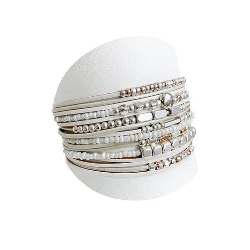 Bracelet Caracol, Cuir, Blanc-Beige et argent, 3161-BGE