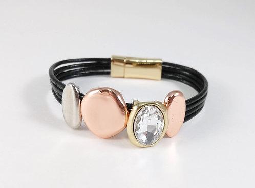 Bracelet cuirette noir, Pièce métal argent, noir, or et or rose, cristal