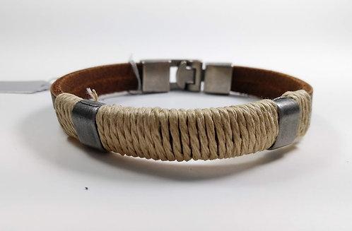 Bracelet pour Homme, cuir brun, cordon beige enroulé, argent antique