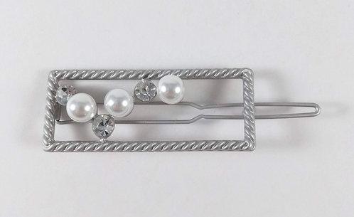 Barrette: Rectangle argent, perles blanches et cristaux